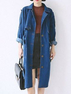Buy Blue Lapel Tie Waist Single Breasted Denim Trench Coat from abaday.com, FREE shipping Worldwide - Fashion Clothing, Latest Street Fashion At Abaday.com