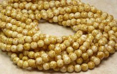 6mm Opaque White Picasso Czech Glass Beads (A155)