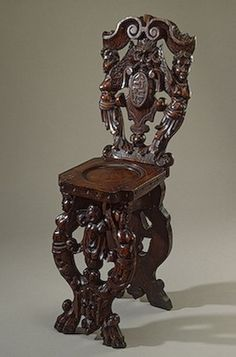 Scabello Chair with Coats-of-Arms and Mascarons, Italy. Second half of the 16th century, Oak; carved. 100x29x35 cm - hermitagemuseum.org / Foter