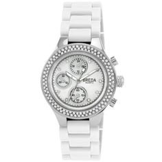 Breda Women's 5192-silver/white Chiffon Rich Rhinestone Bezel Silver Tone Bracelet Watch Breda. $34.02. Two rows of rhinestones on the bezel. Plastic three link band; fold over clasp with push buttons. Water-resistant - not recommended to take into water or shower. Highest standard quartz movement. Mother of pearl dial with three non-working sub dials; indiglo hands. Save 37% Off!