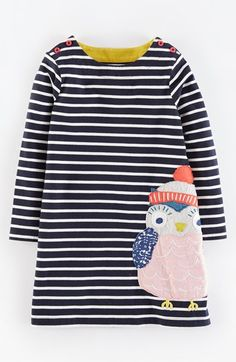 Mini Boden 'Stripy Appliqué' Jersey Dress (Toddler Girls, Little Girls & Big Girls) available at #Nordstrom