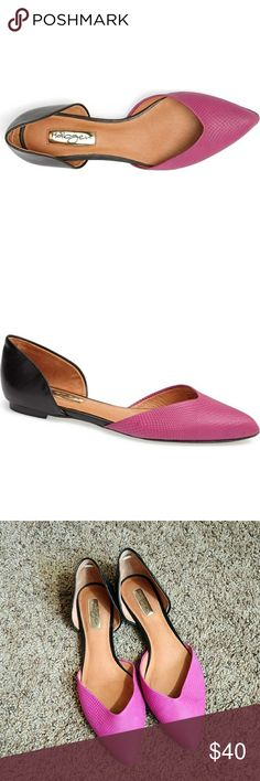 Pointed toe color block d'orsay flats Halogen Leta d'Orsay flat in fuchsia embossed leather and smooth black leather. Leather upper and lining, rubber sole. Size 9.5. Excellent used condition. Questions and offers welcome! Halogen Shoes Flats & Loafers