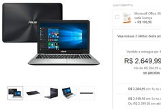 "Notebook Asus X555UB-BRA-XX299T Intel Core i5 8GB 1TB Tela LED 156""  Placa GeForce 940M 2GB << R$ 215910 >>"
