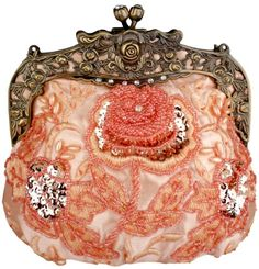 MG Collection Pink Antique Beaded Rose Evening Purse Clutch Handbag w/ Chain
