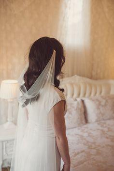 Draped wedding veil soft silky tulle drape by BlossomAndBluebird