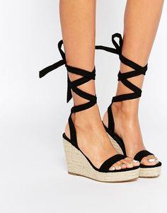0211a7617d2 ASOS TALENT Tie Leg Wedge Sandals at asos.com