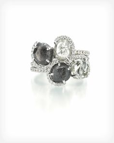 Black and white Champagne Bubbles stack ring-Edgy  #luxuryjewelry #weddingrings #art