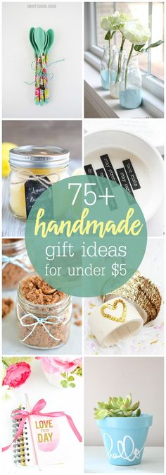A wonderful collection of 75+ Handmade Gift Ideas that can be made for under $5. Check out this great collection of DIY gifts all year long or especially for Christmas!                                                                                                                                                                                 More