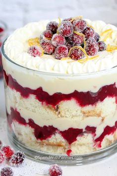 This easy cranberry trifle features soft cake layered with sweet tart cranberries and homemade custard. This beautiful dessert is perfect for any time of year! This cranberry trifle features a hom… Make Ahead Desserts, Mini Desserts, Party Desserts, Just Desserts, Party Recipes, Plated Desserts, Fruit Trifle Desserts, Recipes For Desserts, Fruit Triffle