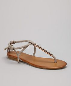 Another great find on #zulily! Gray & Gold Tie Leather T-Strap Sandal #zulilyfinds