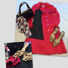 14 Days of Valentines. Day 11. Spy games for Valentine's Day? Red trench with a black beaded slip dress underneath. Paired with a vintage black purse and animal print heels. A cute scarf with a pink lip print added for a little fun. #valentinesday #valentinesdayoutfit #red #trenchcoat #thriftstore #thriftstyle #thriftscoring
