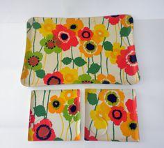 70s Mod XLarge Tray / Plus 2 Snack Trays / 70s Poppies Print / Marimekko Type Print / Mod Decor. $65.00, via Etsy.