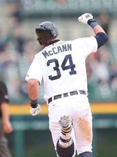 Detroit Tigers' James McCann celebrates after his walk-off