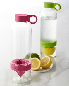 The Citrus Zinger is a unique water bottle designed for citrus fruits that allows you to press lemons, limes, and clementines directly into your water, creating deliciously flavored drinks that are all-natural and free of refined sugars and artificial ingredients.