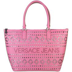 Versace Jeans Pink shopping bags E1VNBBH1_75287_401 ($125) ❤ liked on Polyvore featuring bags, handbags, pink shopping bag, pink handbags, versace handbags, versace and shopper tote handbags