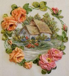 silk ribbon embroidery rose, silk ribbon designs, silk ribbon embroidery