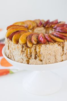 This light and fluffy cinnamon angel food cake recipe is full of warm spices and is topped with sweet caramelized apples for a stunning holiday dessert
