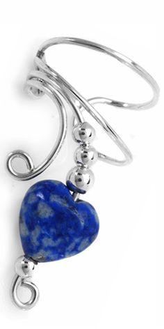 Lapis Heart & Silver Bead Long Sterling Silver Ear Cuff  [1XB-LPH-SS-L] - $18.00 :  © Ear Charms™Inc. #earcuffs #Ear Cuff #EarCharms