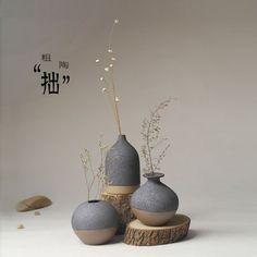 Jingdezhen Ceramic Japanese minimalist flower ornaments decorations home furnishings fashion creative three-piece vase - Taobao