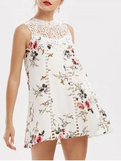 GET $50 NOW | Join RoseGal: Get YOUR $50 NOW!http://www.rosegal.com/print-dresses/lace-insert-floral-mini-trapeze-1161576.html?seid=5939510rg1161576