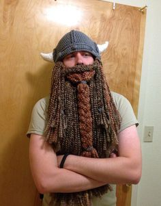 BEST ITEM EVER CROCHETED!!- Viking Hat and Beard by RisenDesign on Etsy, $50.00
