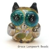 OWL-M-04- Olive green dots free style owl bead, size M from Grace Lampwork Beads