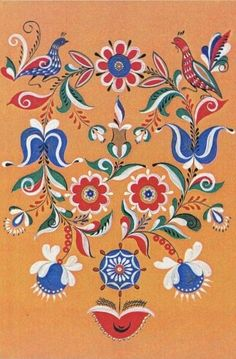 Folk Uftyug painting from Northern Russia. Floral pattern with two birds.