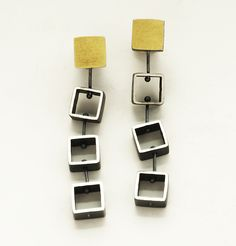 Tumbling Mini Squares by Ashka Dymel: Gold & Silver Earrings available at www.artfulhome.com