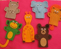 Zoo Animal Finger Puppets, Handcrafted, Preschool. Lion, Monkey, Bear, Hippo, Giraffe and Elephant.