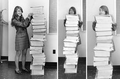Computer scientist Margaret Hamilton poses for a series of photos with the Apollo guidance software she and her team developed at the MIT Instrumentation Laboratory. Credit: MIT Museum