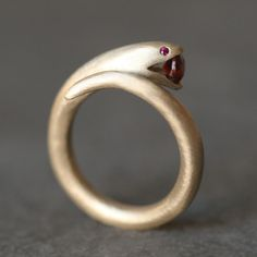 Ruby Open Mouth Snake Ring by Michelle Chang