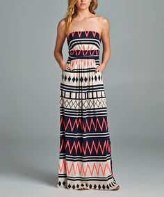 42POPS Navy & Neon Pink Geometric Strapless Maxi Dress | zulily