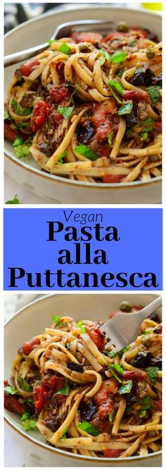Vegan puttanesca is a super simple pasta dish with strong, delicious flavours. If you're looking for something quick and dirty to serve for dinner tonight, this is it! #vegan #pasta #plantbased
