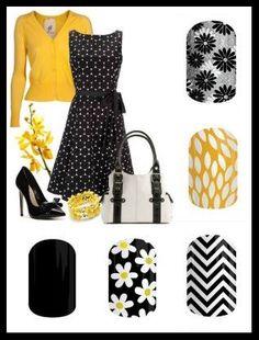 Jamberry black and yellow fashion style board, nail wraps, nail art designs ~~ Jams: Darkest Black, Simply Daisy, Black & White Chevron, Sunny Lotus & Flapper