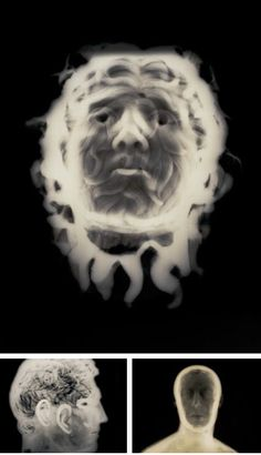 The photographs are derived from x-rays of classical sculptures from the Getty. David Maisel created these pictures, by re-photographing the x-rays on a light box, scanning and extensively manipulating the resulting images, bringing forth colors that reference cyanotypes, albumen prints, and other 19th-century photographic processes.   http://visualhaberdashery.tumblr.com/page/3