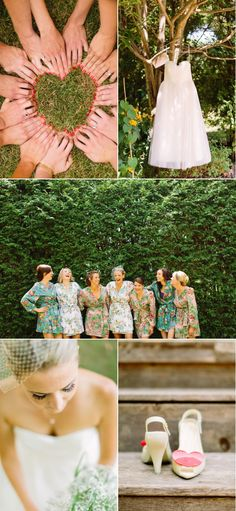 Love the finger hearts - what a unique photo idea for the bride and her girls!