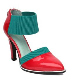 This Mint & Red Pointed Patent Leather Ankle-Strap Pump - Women is perfect! #zulilyfinds