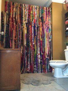 handmade bohemian bathroom shower curtain!