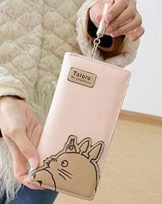Hayao Miyazaki Anime My Neighbor Totoro Cute Fashion Cartoon Woman Bifolded Wallet Girl Students Long Purse (pink)
