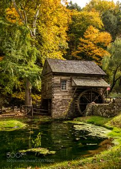 Mill Pond This is the Historic Cuttalossa Farm in Lumberville north of New Hope Pennsylvania. This is the backside of the building on the left shown in my previous post Autumn Farm. It does not get much more idyllic than this. Imagen Natural, Landscape Photography, Nature Photography, Old Grist Mill, Autumn Scenes, Cabin In The Woods, Water Mill, Beaux Villages, Old Barns