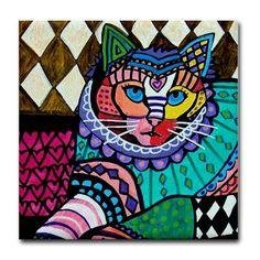 Persian Cat Folk Art Print on Ceramic Tile