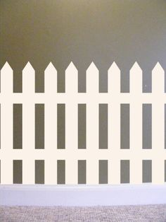 Picket Fence Vinyl Wall Decal French Country Home cottage chic decor for Kids Room pretty white garden gate border Kids Wall Decals, Nursery Wall Decals, Vinyl Wall Stickers, Art Wall Kids, Picket Fence Decor, Vinyl Picket Fence, School Wall Decoration, Wall Decorations, Fence Headboard
