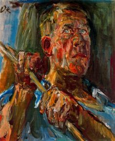 Self portrait. Oskar Kokoschka (1886-1980),  was an Austrian artist, poet and playwright best known for his intense expressionistic portraits and landscapes.  In his early portraits, gesture intensifies the psychological penetration of character; especially powerful among his later works are allegories of the artist's emphatic humanism.