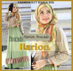 Baju Maxi Harion Avocado dan Pashmina