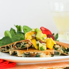 Mango Avocado Chutney on Healthy Chicken Quesadillas #recipe