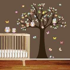 Vinilo pared calcomanía pegatinas buho árbol vivero Set chicas Baby