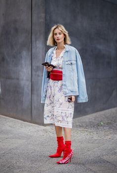 2 Instead of Belting Your Lightweight Dress, Add a Chunky Fanny Pack and Matching Booties