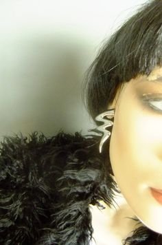 silver squiggle earrings, 70s earrings, costume jewelry, vintage earrings, lightening bolt by vintage2049 on Etsy