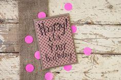 Hooray! It's your Birthday - hand drawn kraft greeting card - pink polka dots