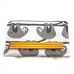 Sloths Fabric Zipper Pouch / Pencil Case / Make Up Bag by MarfDaze